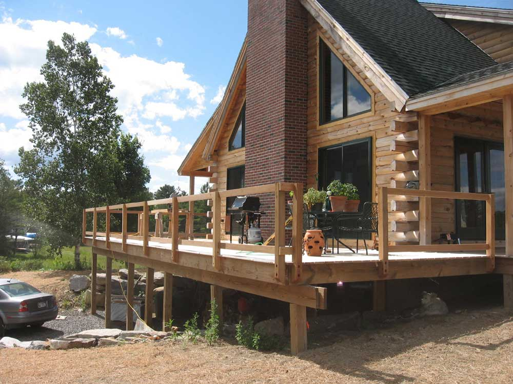 Building a log home in maine for Log home decks